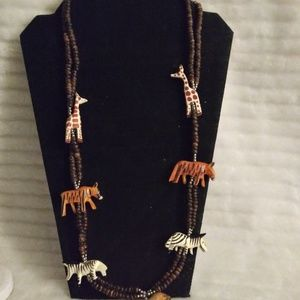 Jewelry - Wood Bead African Animal Necklace
